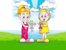 Jouant la poupée à l'extérieur illustration libre de droits