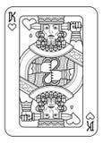 Jouant le roi de carte des coeurs noirs et blancs illustration stock