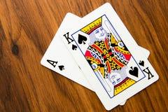 Jouant les cartes - vingt et un Image libre de droits