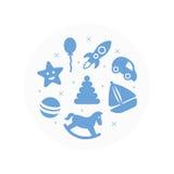 Joue le logo Icônes plates réglées illustration de vecteur
