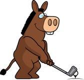 Jouer au golf d'âne de bande dessinée illustration de vecteur