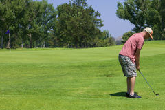 Jouer au golf d'homme Photos stock