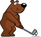 Jouer au golf d'ours de bande dessinée illustration stock