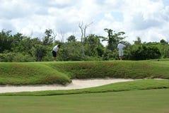 Jouer au golf de deux hommes Images libres de droits