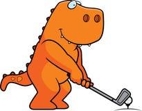 Jouer au golf de dinosaure de bande dessinée illustration stock