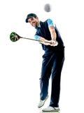 Jouer au golf de golfeur d'homme d'isolement avec le fond photographie stock