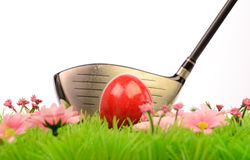 Jouer au golf de Pâques Photographie stock