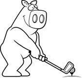 Jouer au golf de porc de bande dessinée illustration libre de droits