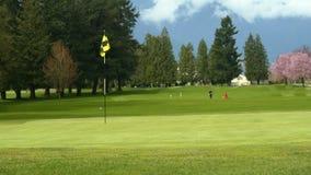 Jouer au golf de vert de terrain de golf Image libre de droits