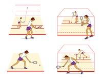 Jouer au squash Le plan des mouvements, formation initiale D'isolement sur le fond blanc illustration de vecteur