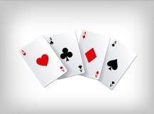 Jouer aux cartes de tisonnier As de tisonnier d'isolement sur le fond gris Descripteur d'affiche Photos stock