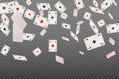 Jouer carde des as tombant sur un fond transparent Image stock