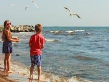 Jouer d'enfants extérieur sur la plage Image libre de droits