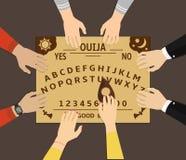 Jouer de conseil d'Ouija Un groupe de personnes communiquent avec des spiritueux par un ouija spirituel de conseil illustration stock