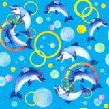Jouer de dauphins d'aquarelle Photographie stock libre de droits
