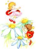 Jouer de garçon et de fille d'enfant Illustration d'aquarelle illustration libre de droits