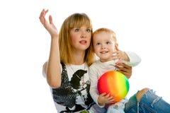 Jouer de maman et de fils Photos libres de droits
