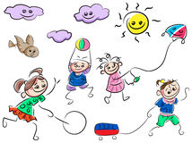 Jouer des bandes dessinées d'enfants Photo libre de droits