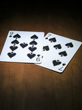 jouer des cartes, cartes des pelles Photographie stock