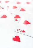Jouer des cartes de coeur Photo libre de droits