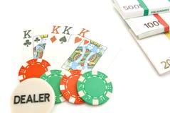 Jouer des cartes, des euros et des puces Photographie stock libre de droits