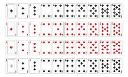 Jouer des cartes et des as de nombre de cartes Illustration Libre de Droits