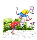 Jouer des childs de souris Photos stock