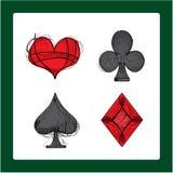 Jouer des symboles de carte Les quatre costumes : clubs, diamants, pelles, coeurs illustration de vecteur