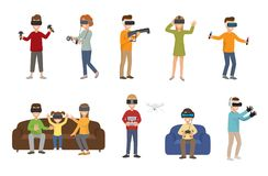 Jouer en verre de personnes de casque de la réalité virtuelle VR apprécient le jeu vidéo futuriste de simulation de caractères de Image stock