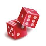 Jouer l'ensemble de vecteur de matrices Illustration 3D réaliste de deux matrices rouges avec l'ombre Positionnement de matrices  Image libre de droits