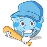 Jouer la bande dessinée de caractère de couche-culotte de bébé de base-ball Photos libres de droits