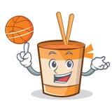 Jouer la bande dessinée de caractère de nouilles de tasse de basket-ball illustration libre de droits