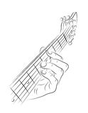 Jouer la corde de guitare Photos stock