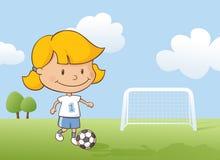 Jouer la fille du football illustration de vecteur