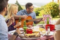 Jouer la guitare à la partie de barbecue photos libres de droits