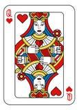 Jouer la reine de carte du noir bleu rouge de jaune de coeurs Illustration de Vecteur