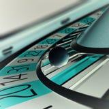 Jouer la roulette de casino, casino de concept jouant, roue de la fortune Profondeur de champ dans la boule illustration 3D Photographie stock
