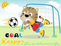 Jouer le football avec la petite bande dessinée de chat Photo stock