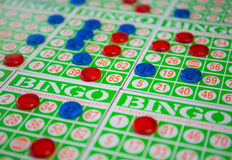 Jouer le jeu de cartes de bingo-test Photo stock
