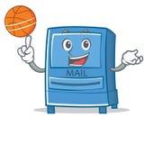 Jouer le style de bande dessinée de caractère de boîte aux lettres de basket-ball illustration stock