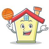 Jouer le style de bande dessinée de caractère de maison de basket-ball Photos stock
