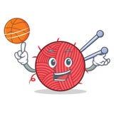 Jouer le style de tricotage de bande dessinée de caractère de basket-ball illustration de vecteur