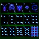 Jouer les signes au néon de zodiaque de série de cartes Costume de pelle jouant l'ensemble complet de cartes Image libre de droits