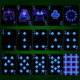 Jouer les signes au néon de zodiaque de série de cartes Ensemble complet de cartes de jeu de costume de club Photographie stock