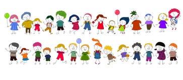 Jouer mignon d'enfants de bande dessinée Photos libres de droits