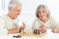 Jouer supérieur heureux de couples Images libres de droits