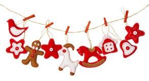 Jouet accrochant de décoration de Noël, fond blanc d'isolement, Tra Photos libres de droits
