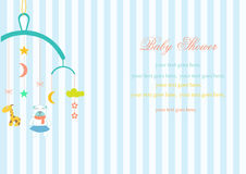 Jouet accrochant de huche de bébé sur des milieux de rayure, illustration de vecteur