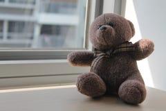 Jouet d'ours de Brown se reposant par la fenêtre dans les ombres Image libre de droits
