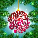 Jouet de boule de Noël de lettrage de vacances Grand élément de conception pour des cartes, des bannières et des insectes de féli Images stock